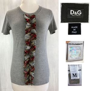 D&G Dolce & Gabbana Wool Plaid Ruffle Cotton Shirt